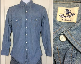 1950's Wrangler Blue Bell chambray snap western work Shirt looks size small