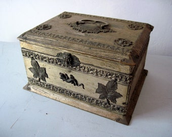 Antique wood Metal Jewelry Box with ornate stampings leaves flowers and lizards