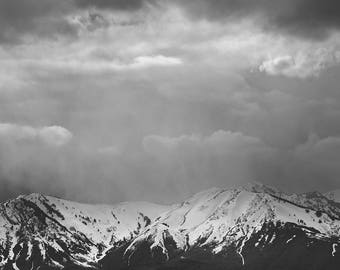 Stormy Mountain Landscape in Black and White | Dramatic Sky Print