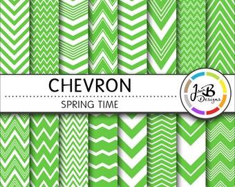 Chevron Digital Paper, Spring Time, Green, White, Chevron, Zig Zag, Digital Paper, Digital Download, Scrapbook Paper, Digital Paper Pack