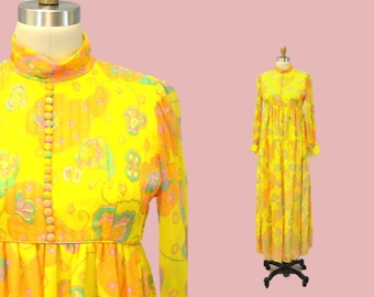 Maxi dress MOD 60s hostess SHERBET yellow sunshine chiffon floral 1960s garden party hipster preppy romantic paisley modest