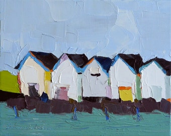 Five Boathouses- Oil Painting, 8x10, On Canvas, Original Landscape Painting