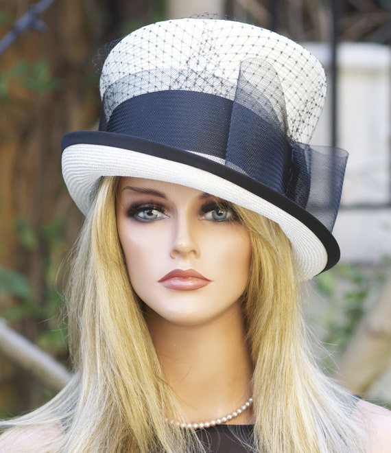 Kentucky Derby Hat, Wedding Hat, Ascot Hat, Top Hat, Mad Hatter, formal hat, dressy hat, church hat, black & white hat, hat with veiling