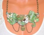 Beach Sea Shell Necklace, Mermaid, Seahorse, Starfish, Green, Bronze