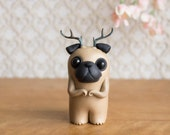 Pugalope - Pug Figurine with Antlers by Bonjour Poupette