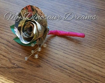 Comic Book Rose Boutonniere for Groom, Groomsmen, or Father