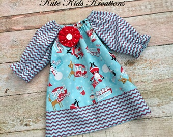 Toddler Christmas Dress, Peasant Dress, Happy Holiday, Size 5T, Ready to Ship