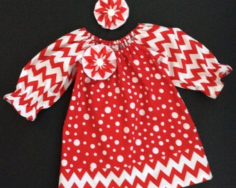 Toddler Christmas Dress and Hair Clip/Peasant Dress, Red Chevron/Size 3T, Ready to Ship