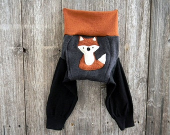 MEDIUM Upcycled Merino Wool Longies Soaker Cover Diaper Cover With Added Doubler Gray/Black/ Orange With Fox Applique  6-12M