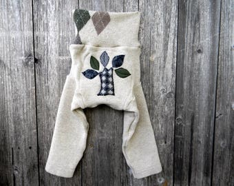 LARGE Upcycled Lambswool Longies Soaker Cover Diaper Cover With Added Doubler Oatmeal Argyle With Tree Applique 12-24M