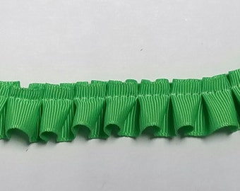 Box pleated bright apple green pleated grossgrain ribbon fabric sewing trim for flowers, couture, decor and more 12 yards wholesale