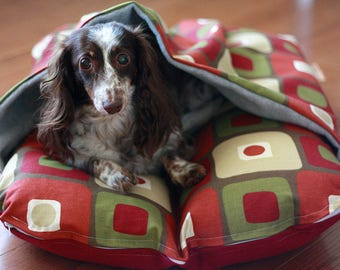 Dog Bed, Dachshund, Dog Burrow Bed, Bun Bed, Pocket Bed - TheOminousCloud - Mid Century Modern Mod Eames Red Squares