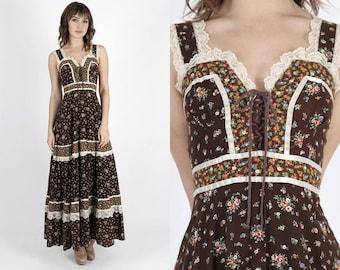 Gunne Sax Dress Boho Wedding Dress Jessica McClintock Dress Bohemian Dress Summer Dress Festival Dress Vintage 70s Calico Hippie Corset Maxi