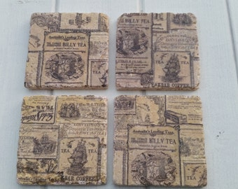 Vintage style Old Day Adverts Stone Coaster Set of 4 Tea Coffee Beer Coasters