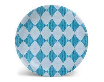 Melamine plate, dinner plate, decorative plate, blue diamond pattern, salad plate, dessert plate, dinnerware, 8 inch plate, 10 inch plate