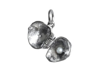 Hinged Clam and Pearl Sterling Silver Charm