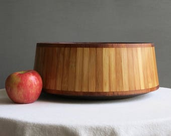 Vintage Dansk Bamboo and Teak Bowl by Jens Quistgaard - Danish Modern Cane Wood Salad Bowl IHQ - Mid Century Modern Kitchen Decor 1950s