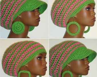 Alpha Kappa Alpha AKA Sorority Chunky Crochet Medium Brimmed Cap and Earrings by Razondalee Razonda Lee