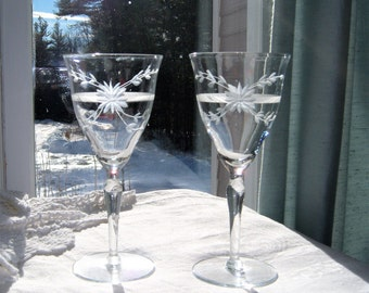 Vintage Crystal Goblets Cut and Etched 1960's Set of 2 / Gray Cutting Floral and Banded Dinner Party Cocktails Holiday Drinks Wine Toasting