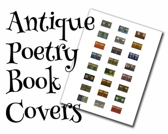Antique poetry dollhouse book covers, 1:12, PDF digital file, three sizes, 24 styles, 72 book covers!