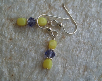 Vintage Yellow Glass Cube Bead and Swarovski Crystal Dangle Earrings.