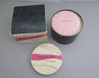 Vintage ESCAPADE by SHULTON Inc. 7 OZ Dusting Powder in Box & Puff 1950s 60s New Old Stock