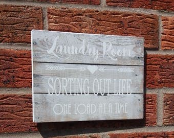 Laundry room sorting out life one load at a time wooden plaque sign