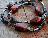 Black and Red Necklace, Hematite and Silver, Rustic Jewelry, Boho Style, Gunmetal Grey, Natural Materials, Valentine Jewelry