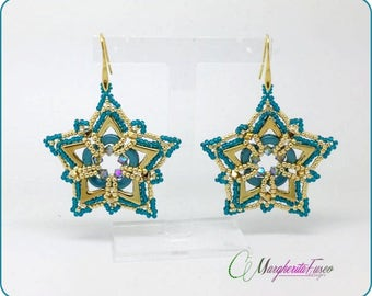 How to make Petra earrings with ava  and arcos beads. PDF step by step tutorial.