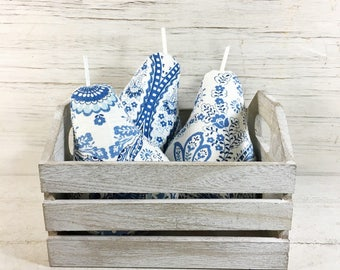 Fabric Pears-Linen Pears-Blue and White