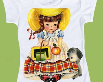 Mary had a Little Lamb, Back to School, Girls clothes, Vintage Storybook, Girls school T-Shirt, Birthday shirt, Kindergarten, 1st grade