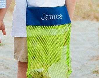 Monogramed Shell Collection Bag - Personalized Shell Bag - Mesh Shell Bag - Beach Shell Bag - Shell Collection Bag -