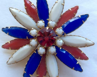 Vintage Patriotic Starbusrt Pin Brooch Facetted Glass  Navette Rhinestones Red White Blue Gold-tone
