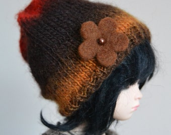 Brown beanie with felt flower for Unoa, minifee msd, ball-jointed dolls