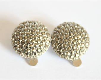 Vintage marcasite flower earrings.  Clip on earrings