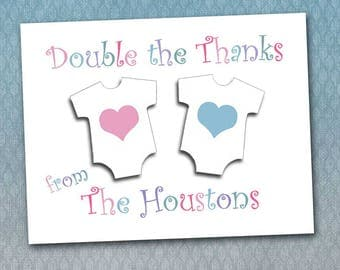 Twins Thank You Note Cards, Onesies, Custom Made, Personalized, Matching DIY Diaper Raffle, Baby Shower, First Birthday Baby Gifts, New Baby