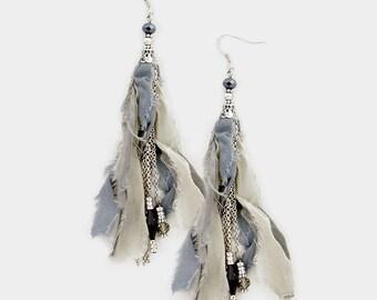 Sale| Chiffon Fabric Dangle Earrings - Fringe Earrings - Tassel Earrings - Boho Jewelry - Hippie - Indie - Trending Earrings - Blue - Mixed