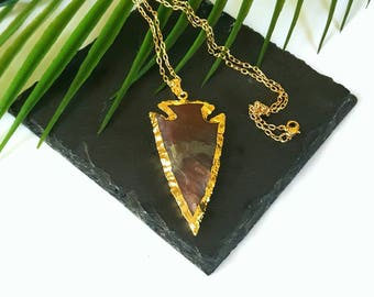 Gold dipped Arrowhead jewelry//red jasper arrow necklace//raw jasper arrowhead//raw tribal necklace