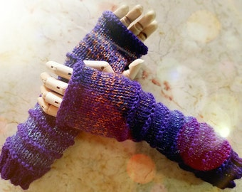 Wildling Knits Pair of Hand Knit Purple Gradient Arm Warmers Ready to Ship