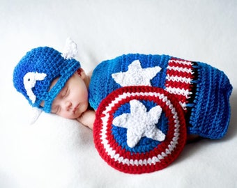 Inspired crochet Captain American newborn outfit