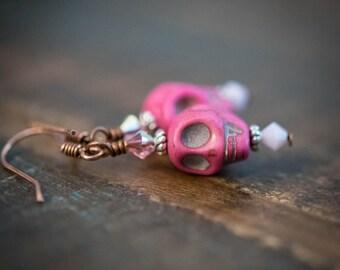 Earrings Day of the Dead Skulls in Hot Pink