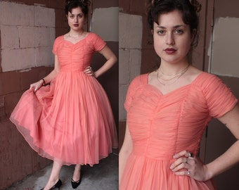 Vintage 1950's Dress // 50's Dreamy Coral Pink Chiffon Party Prom Dress // Full Skirt Chiffon Cupcake Dress // DIVINE