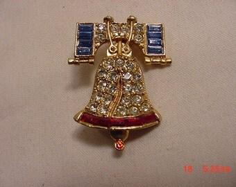 Vintage Rhinestone Liberty Bell Brooch   16 - 868