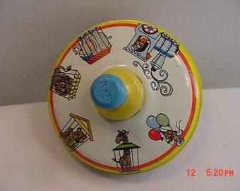 Vintage Ohio Art Tin Toy Circus Train Theme Top  17 - 490