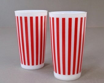 Vintage Hazel Atlas Candy Stripe Tumblers Set of Two (2)