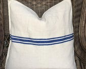 Large Pillow with Blue Stripe, created from a vintage French Grain Sack