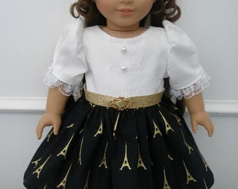 Dress for 18 inch dolls  - White, Black and Gold Eiffel Tower Print with half slip and black shoes