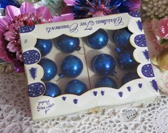 Vintage Christmas-Tiny Feather Tree Glass Ornaments-Original Box-1 dozen-20mm-Shiny Brite-Bold Blue