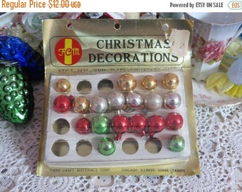 ON SALE Vintage Tiny Feather Tree Glass Ornaments-Original Box-14mm-2 Dozen