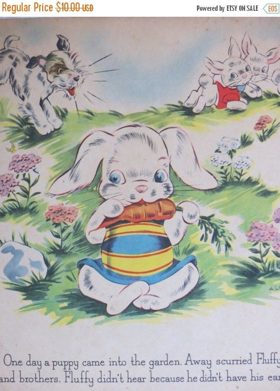 ON SALE Vintage Childrens Book Plate-Page-Nursery-Framed Art-Bunny-Easter